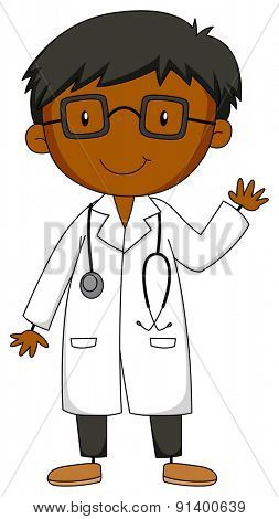 Closeup doctor in uniform with stethoscope