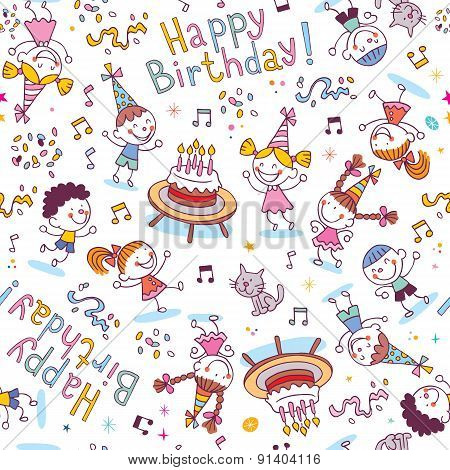Happy Birthday kids party seamless pattern design poster
