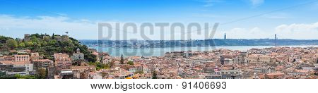Panoramic View Of Miradouro Da Graca Viewpoint  In Lisbon, Portugal