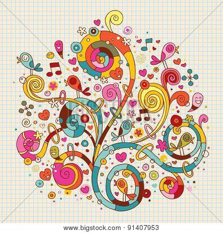 flowers, hearts, birds nature illustration