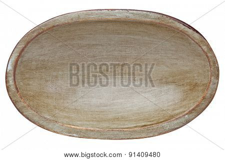 oval wood trencher dough bowl with gray and brown grunge finish isolated on white