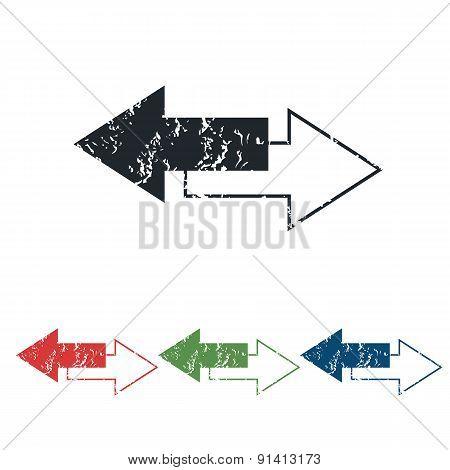 Opposite arrows grunge icon set