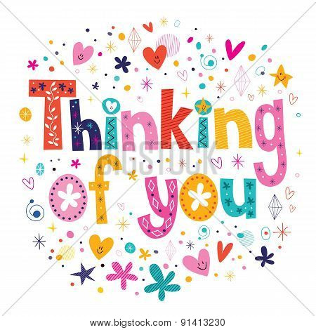 Thinking of you typography lettering card