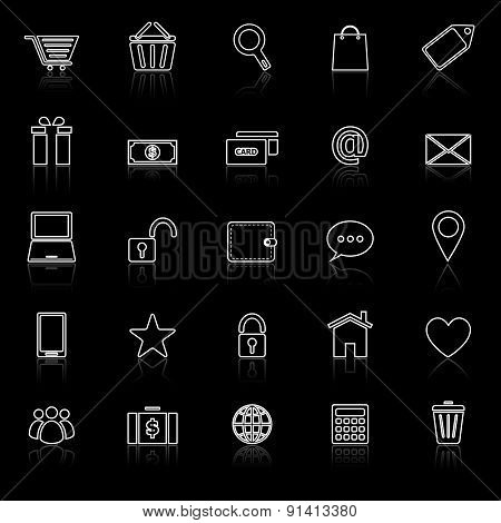 Ecommerce Line Icons With Reflect On Black