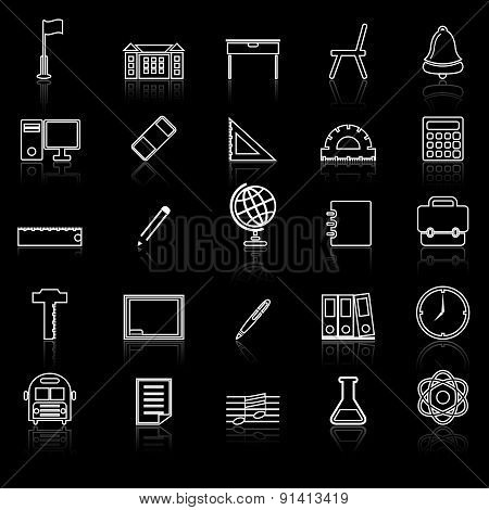 School Line Icons With Reflect On Black