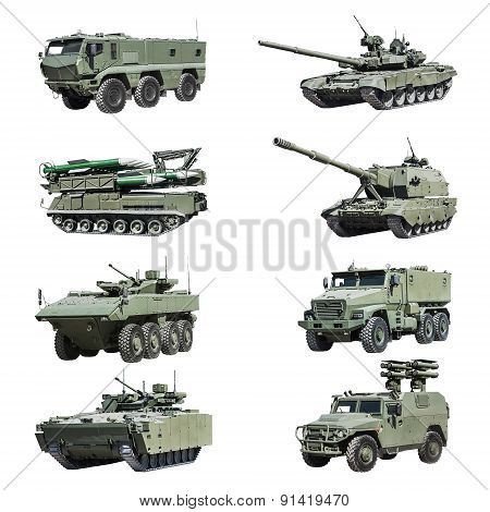 Armoured Military Vehicles Russia Isolated On White