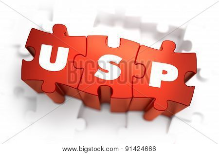 USP - Unique Selling Point - White Word on Red Puzzles on White Background. 3D Illustration. poster