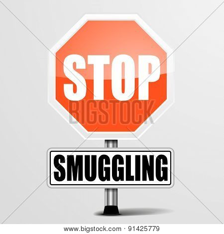 detailed illustration of a red stop Smuggling sign, eps10 vector