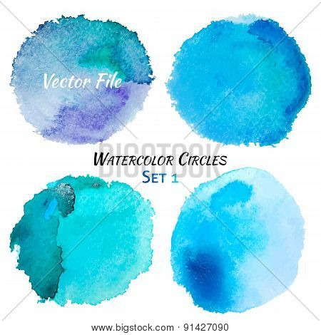 Watercolor Blue And Purple Vector Colorful Circles Set