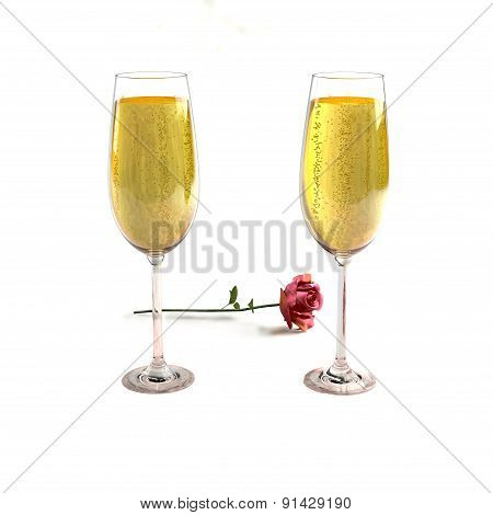 Two glasses of good champagne and a rose
