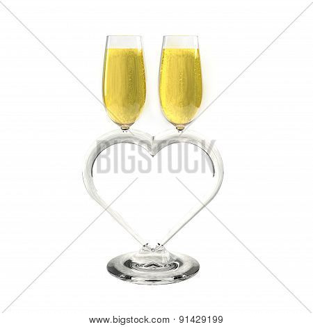 Two champagne glasses heart shaped