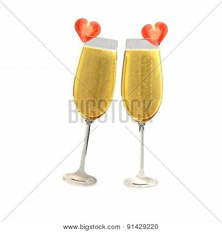 Two champagne glasses with two tomatoes