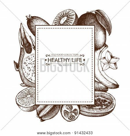 Vintage frame with tropical fruits illustration isolated on white.