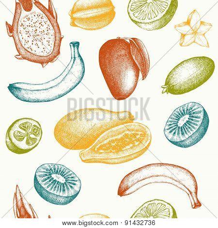 Vintage tropical fruit background isolated on white.