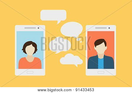 Concept of a mobile chat or conversation of people via mobile phones. Can be used to illustrate globalization, connection, phone calls or social media topics.