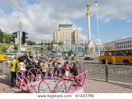 Ukraine, Kiev - May 27,2013: Children And Guide During A Tour At The Independence Square