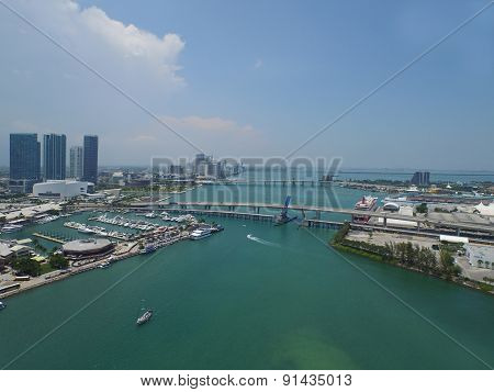 Aerial view of Downtown Miami FL USa and Biscayne Bay poster
