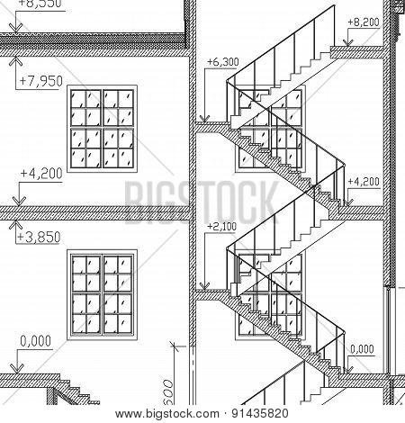 Stairs and windows architecture background