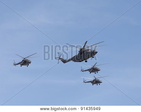 Large Helicopter Mi-26 Helicopters And Three Mi-8