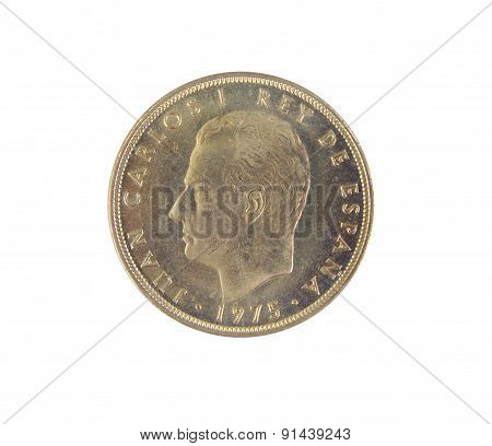 Single old Spanish coins of 100 pesetas showing Juan Carlos I king's face isolated on a white backgr