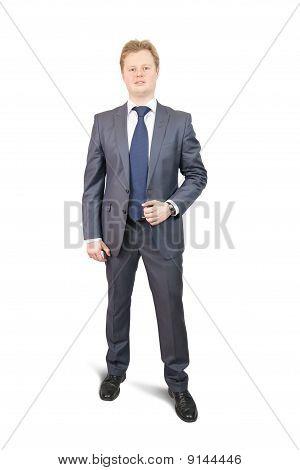 Isolated Full Length Studio Shot Of Businessman