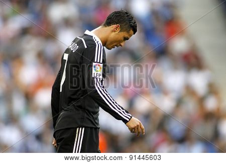 BARCELONA - MAY, 17: Cristiano Ronaldo of Real Madrid during a Spanish League match against RCD Espanyol at the Power8 stadium on Maig 17 2015 in Barcelona Spain