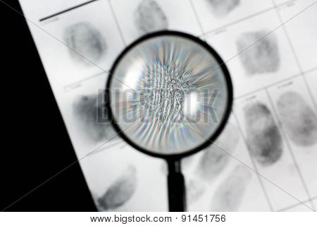 Fingerprint on police fingerprint card.