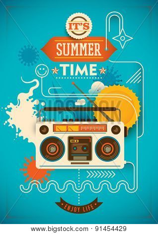 Funny summer poster. Vector illustration.