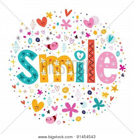 word Smile retro typography lettering decorative text