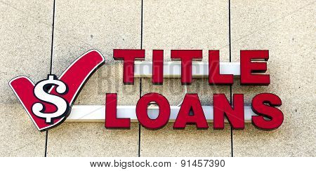 Title Loans Store Sign