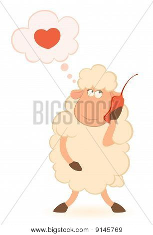 illustration of cartoon sheep speaks by phone  for a design poster