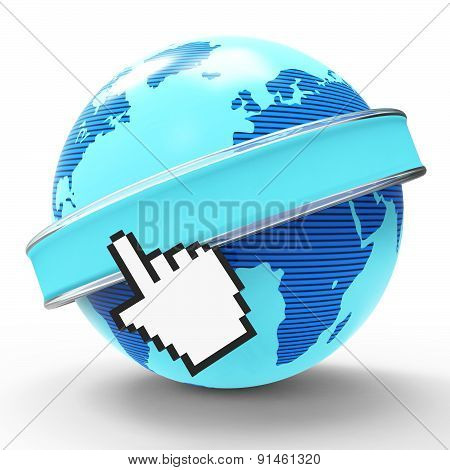 Global Internet Indicates World Wide Web And Copy-space