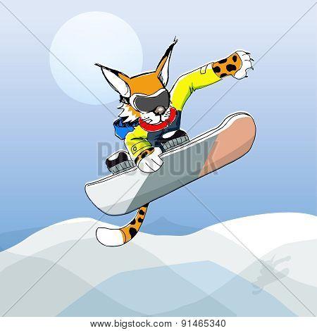 vector illustration of sportive leopard on a snowboard