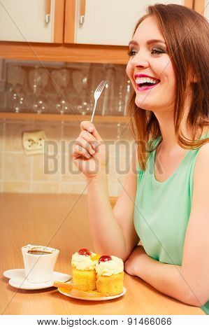 Woman With Coffee Eating Cream Cake. Gluttony.