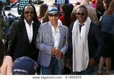 NEW YORK - MAY 22: (L-R) Singer Verdine White, Ralph Johnson and Philip Bailey of Earth, Wind and Fire attend at NBC's Toyota Concert Series at Rockefeller Plaza on May 22, 2015 in New York City.