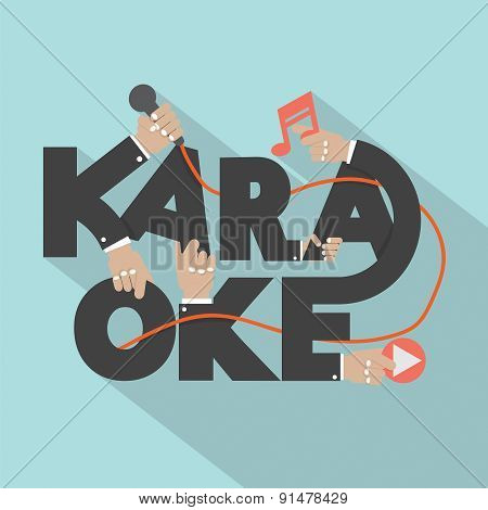 Microphone Hand With Karaoke Typography Design Vector Illustration. EPS 10 poster