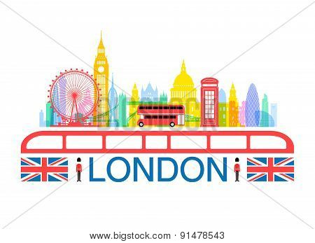 London England Travel Landmarks. Vector and Illustration poster