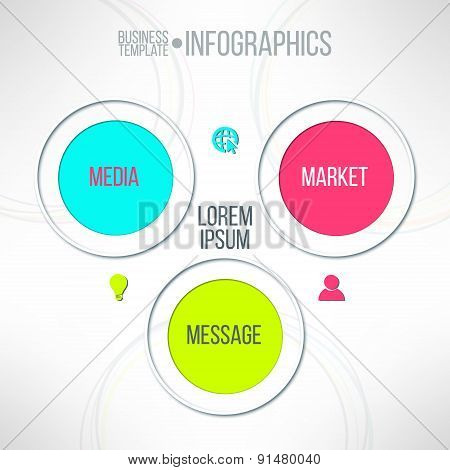 Vector media market message colorful infographic diagram. Corporate strategy schema