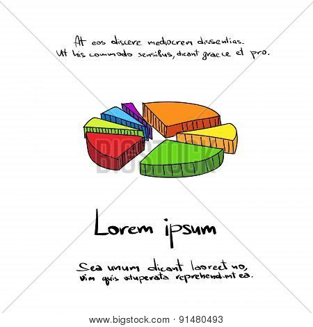 3d Pie Chart Diagram Hand Draw Color Icon