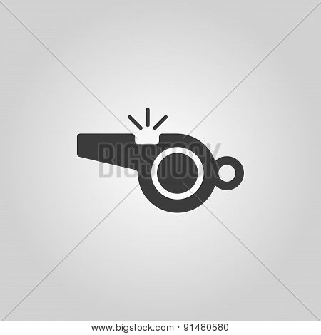 The Whistle Icon. Referee Symbol. Flat
