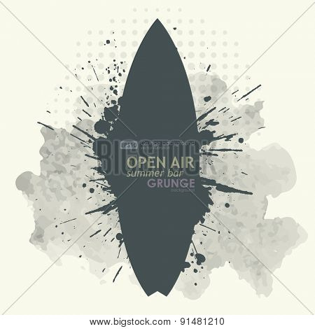 Abstract grunge background poster for openair party. T-shirt surfboard graphic design. Grunge poster vector background. Dirt texture. Grunge banner with an inky dribble strip with copy space.