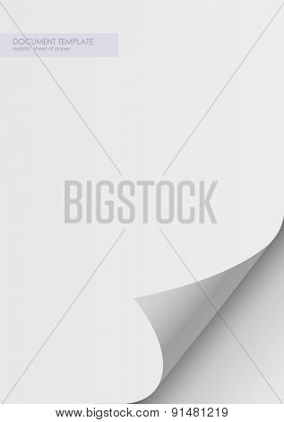 paper sticker with bent corner, illustration. Twelve curved corner on white sheet with realistic shadow. Vector design. Rolled paper template, layout a4
