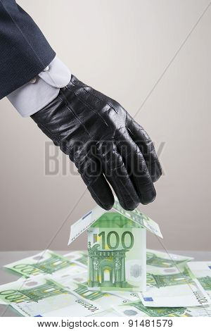 Concept - corruption theft. Hand in glove leathern designed to steal money. poster