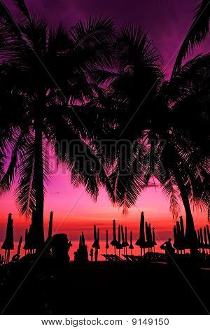 Sunset at tropical beach in Thailand 1