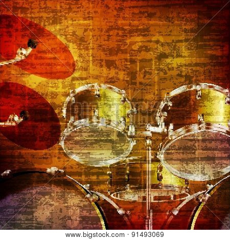 Abstract Grunge Background With Drum Kit
