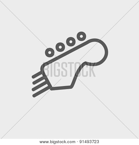 Guitar tuner icon thin line for web and mobile, modern minimalistic flat design. Vector dark grey icon on light grey background.