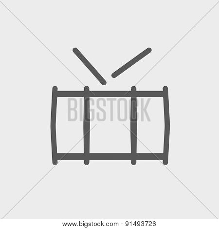 Snare drum icon thin line for web and mobile, modern minimalistic flat design. Vector dark grey icon on light grey background.