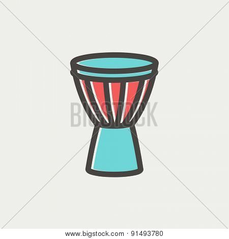 Timpani icon thin line for web and mobile, modern minimalistic flat design. Vector icon with dark grey outline and offset colour on light grey background.