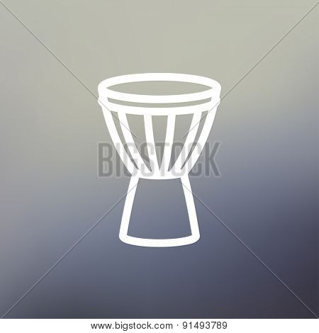 Timpani icon thin line for web and mobile, modern minimalistic flat design. Vector white icon on gradient mesh background.