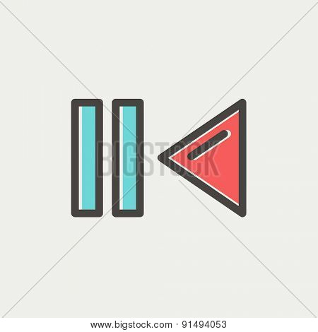 Pause and playback button icon thin line for web and mobile, modern minimalistic flat design. Vector icon with dark grey outline and offset colour on light grey background.
